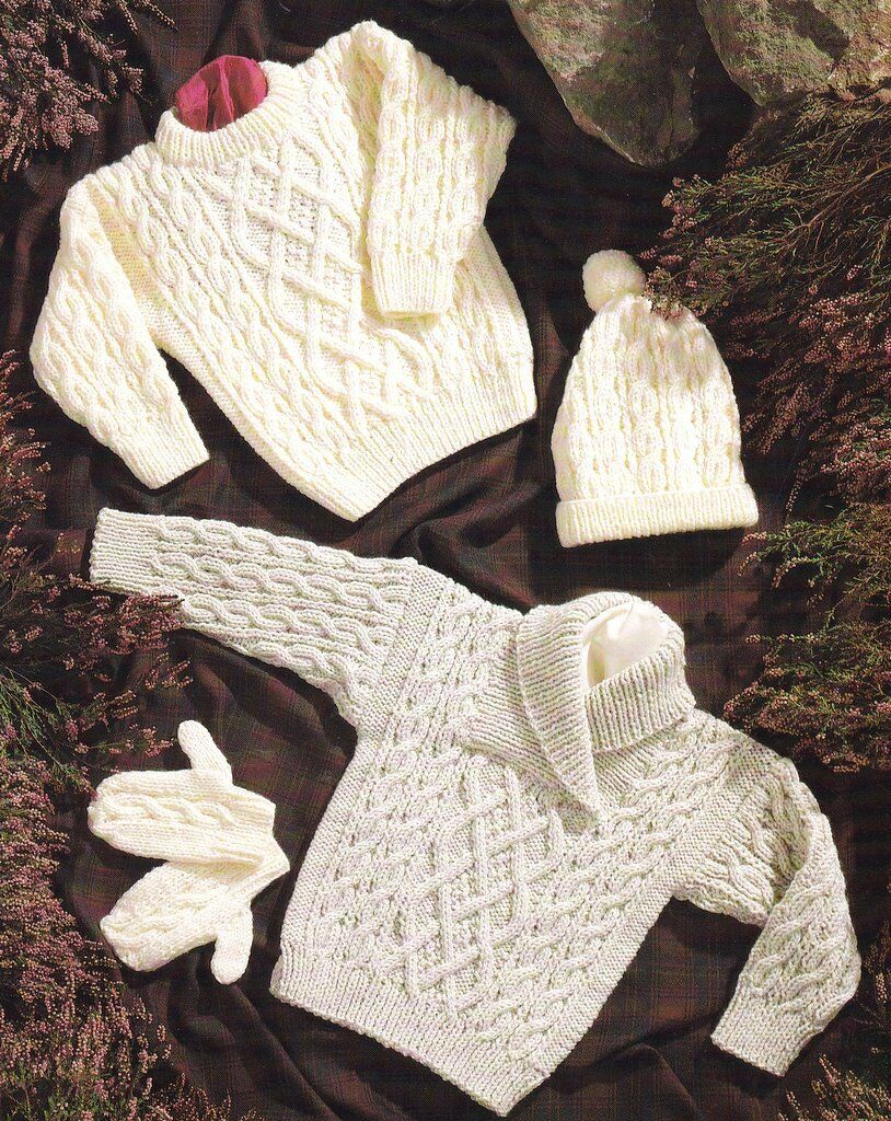 Knitting Pattern For Round Baby Shawl : Baby Children Aran Shawl/Round Neck Sweater Hat Mitts 16