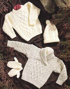 Aran Childrens Knitting Patterns : Baby Children Aran Shawl/Round Neck Sweater Hat Mitts 16