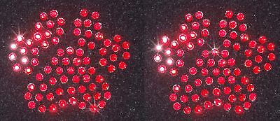 2 PAW RED iron-on hotfix RHINESTONE diamante transfer