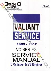 MAX ELLERYS WORKSHOP REPAIR MANUAL BOOK CHRYSLER VALIANT VC 6CYL & V8 1966-1967