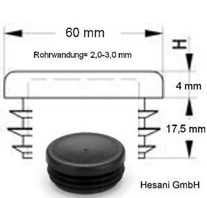 2 lamellenstopfen gl 60 mm schwarz rohrstopfen kunststoffstopfen rundrohr rund ebay. Black Bedroom Furniture Sets. Home Design Ideas