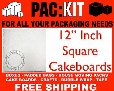 "10 x Silver Cake Boards Round or Square 8"" 10"" or 12"""