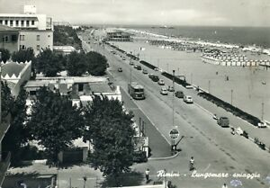 034-RIMINI-LUNGOMARE-Spiaggia-034-Viaggiata-Anno-1960
