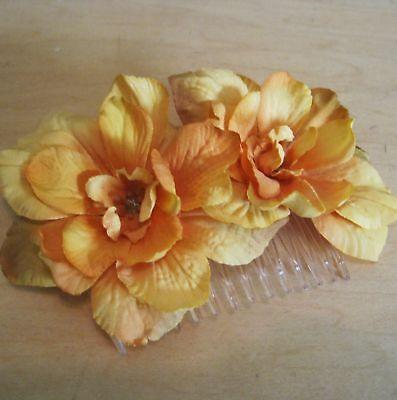 Apricot  Apple Blossom  Silk Flowers  Hair Comb, Prom,Wedding,Dance,Luau,Bridal