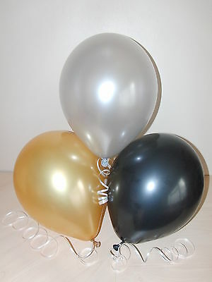 Black Silver & Gold ☆ NEW YEAR PARTY BALLOONS ☆ Decorations x 15