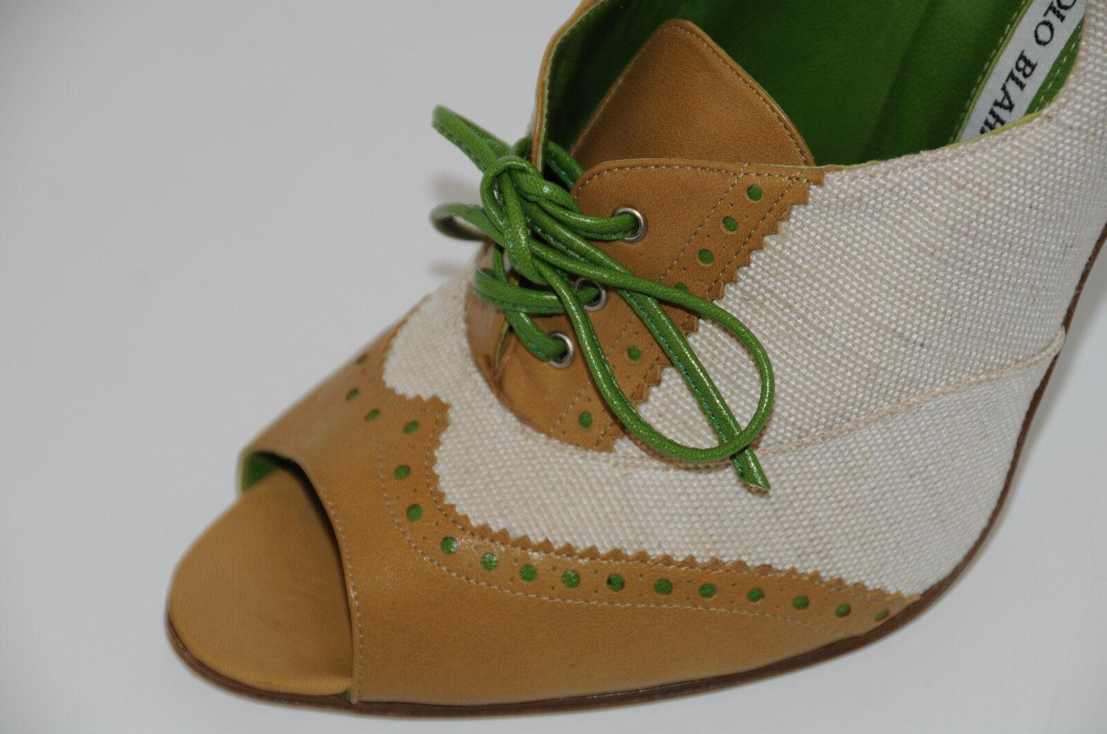 i nuovi marchi outlet online  1075 New MANOLO BLAHNIK Linen Linen Linen Marrone verde Peep Toe avvioIES  scarpe 41  Heels  buon prezzo