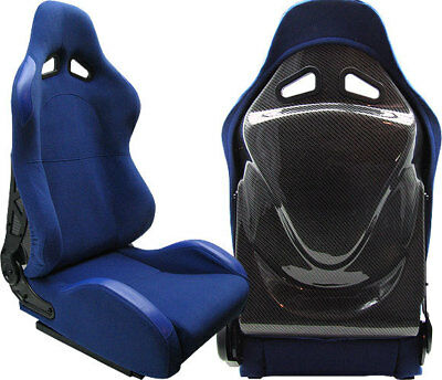 Blue & Carbon Racing Seat 1964-2011 Ford Mustang Cobra