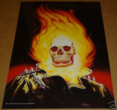 GHOST RIDER FLAMING RED SKULL POSTER LEATHER JACKET JOHNNY BLAZE HELLFIRE MARVEL