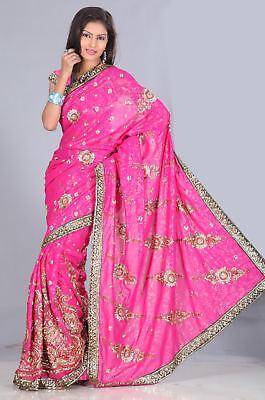 Pink Designer party wear Embroidery Sequin Sari Saree