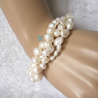 """7-8"""" 4-10mm White freshwater pearl Bracelet Golden Clasp"""