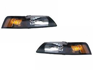 NEW-99-04-Mustang-Headlight-Kit-Stock-Style-Black-Inserts-99-00-01-02-03-04