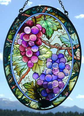 AMIA Stained-Glass Look Large Fruit of the Vine/ Grape Suncatcher - Hand Painted