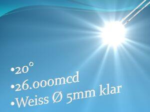 100-LEDs-weiss-ULTRAHELLE-Leuchtdioden-5mm-26000mcd-Widerstand-Schrumpfschlauch