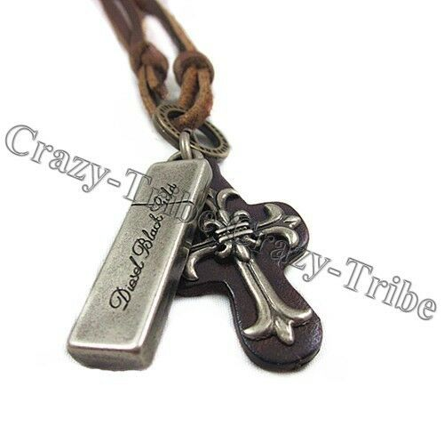 mens boy's charm choker Cross Metal pendant Genuine leather necklace fashion