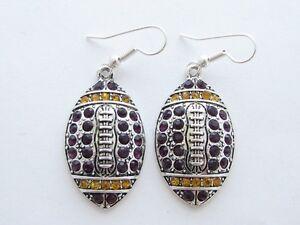 Football-Purple-Yellow-Crystal-Earrings-Jewelry-LSU-Tigers