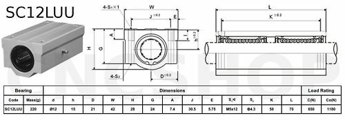 SC12LUU 12mm LONG TYPE LINEAR BALL BEARING CNC ROUTER 3D PRINTER RAIL SLIDE DIY