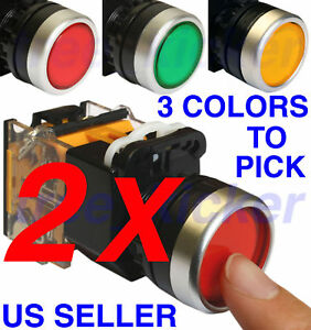 TWO-2-Push-Button-Momentary-Press-Switch-Heavy-Duty-NEW