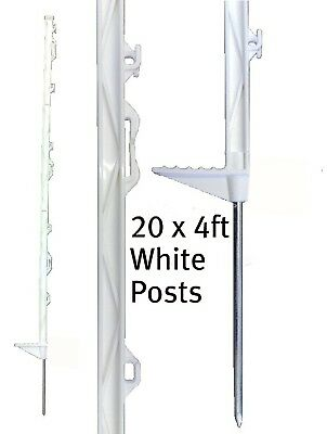 20 X WHITE 4FT POSTS 138cm Tall Electric Fencing Fence
