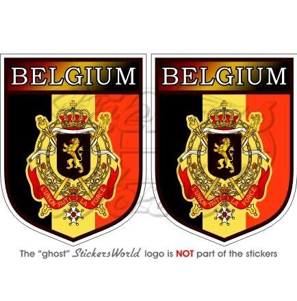 """BELGIUM Belgique Belgian Shield 75mm (3"""") Vinyl Bumper Stickers Decals x2"""