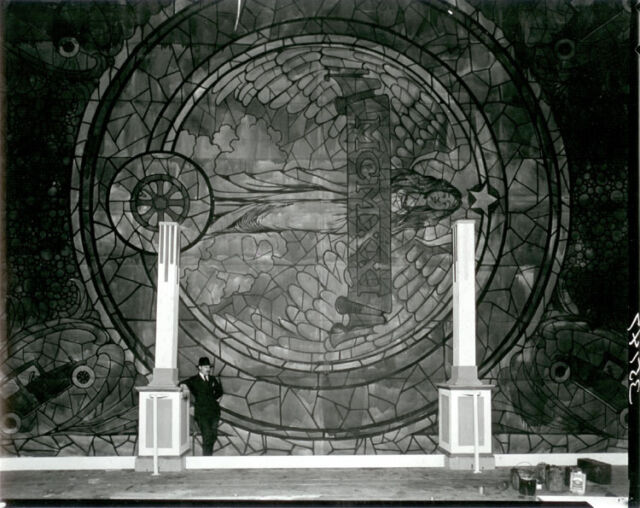 STAINED GLASS WINDOW WITH ROMAN NUMERALS MCMXXI (1921)