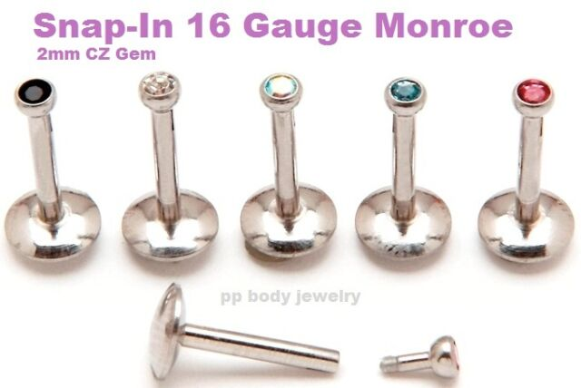 "1pc. 16GA~3/8"",5/16"" 316L Surgical Steel PUSH-IN Labret/Monroe with 2mm C.Z. Gem"