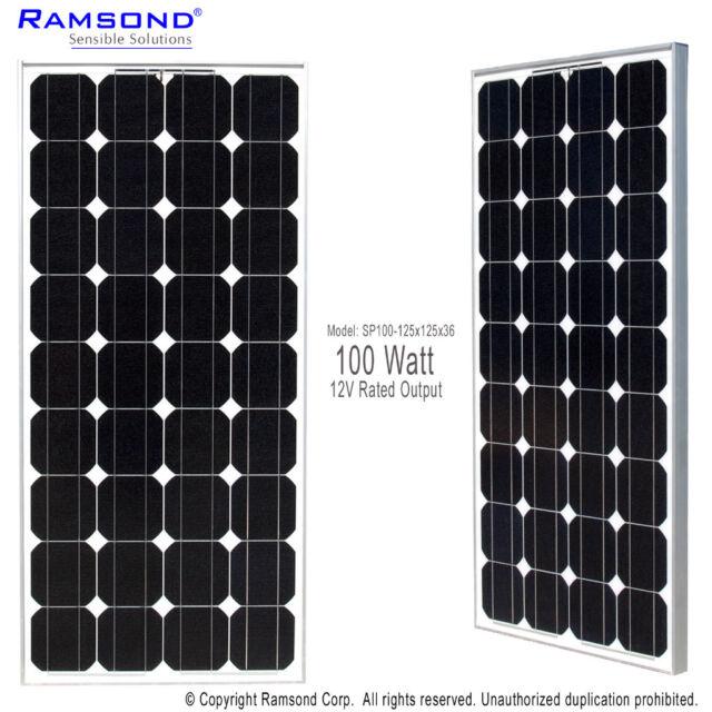 Ramsond 100 W Watts 100W 100Watts Photovoltaic PV Solar Panel Module 12V RV Boat