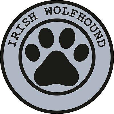 1x IRISH WOLFHOUND PAW PRINT SEAL TRACK FUNNY STICKER DOG PET DECAL VINYL
