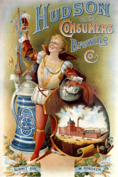 AMERICAN HUDSON COUNTY CONSUMERS BREWING STEIN BEER MUG USA VINTAGE POSTER REPRO