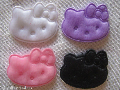 TÊTE CHAT KITTY NOEUD ** 25 x 32 mm ** LOT 4 Grands EMBELLISSEMENTS VELOURS