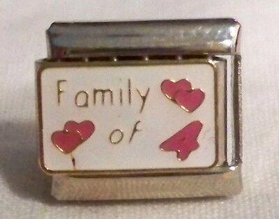 Family of 4 w/ Hearts Italian Charm - NEW
