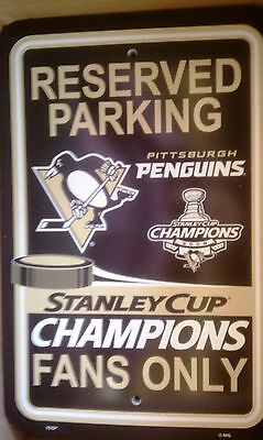 Pittsburgh Penguins 2009 Stanley Cup Champions Parking Sign NHL Hockey