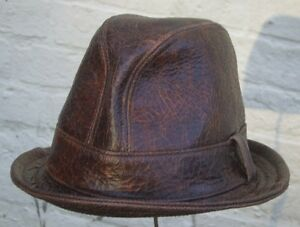 Fedora-039-Snatch-039-hat-cracked-brown-leather-handmade-bespoke-S-M-L-XL-XXL