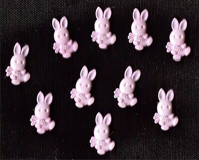 PINK  NOVELTY BUNNY SHAPED BUTTONS  X 10 - BABY,CRAFT,RABBIT
