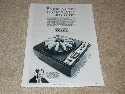 Telex 48H, 48D 12 Tape 8 Track Changer Ad, 1 pg, 1973, Very Rare!