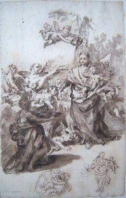 FRANCESCO SOLIMENA Signed c. 1704 Original Ink & Wash