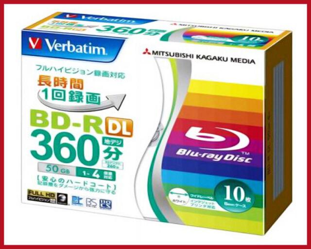 10 Verbatim Bluray Disc 50 GB BD-R 4X  Inkjet Printable Repacked in Spindle.