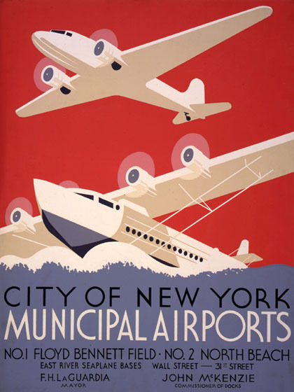 AIRPLANE SEAPLANE NEW YORK MUNICIPAL AIRPORTS NORTH BEACH VINTAGE POSTER REPRO