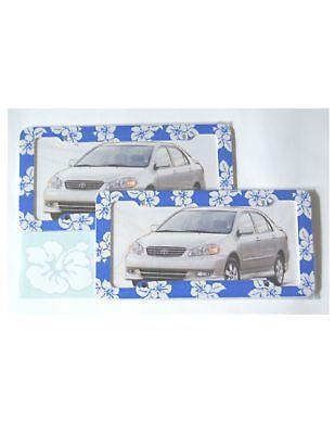2 BLUE HAWAIIAN FLOWER License Plate Frames & Decal NEW