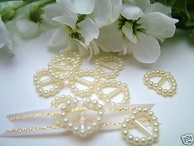 100 Pearl Ribbon Buckles/Slider Heart Shaped Wedding Invitation Decoration