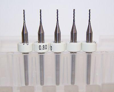 """(5) - 0.80mm (.0315"""") Carbide 3 flute endmills, long flute 1700W0315.195"""