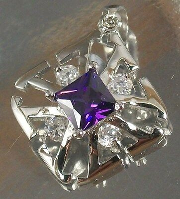 925 STERLING SILVER purple and clear CZ square CHARM PENDANT  fits Necklace