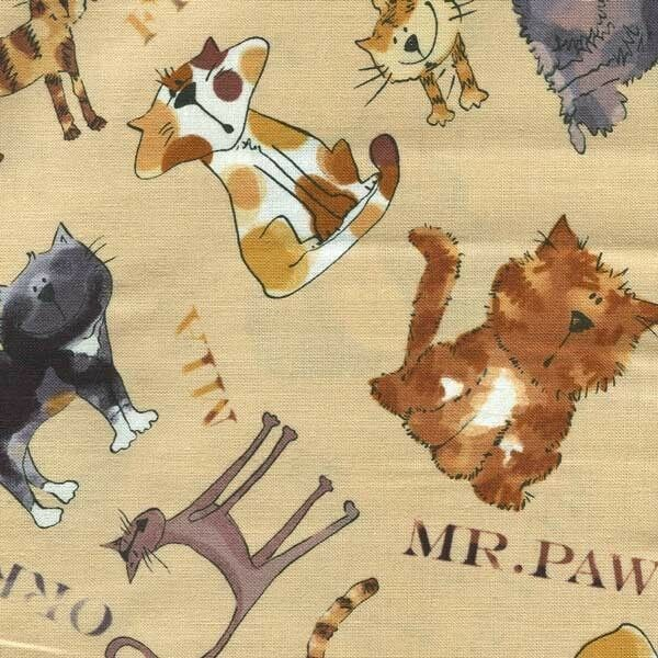 CARTOON CATS BROWN TAN GRAY WITH NAMES Cotton Fabric BTY for Quilting Craft Etc