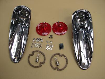 56-57 Corvette COMPLETE TAIL LAMP ASSEMBLY lights lamps light lens rear pair