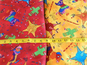 HOT-Fiesta-Fabric-Print-Pinatas-Red-Yellow-100-Cotton-quilting-weight-fabric