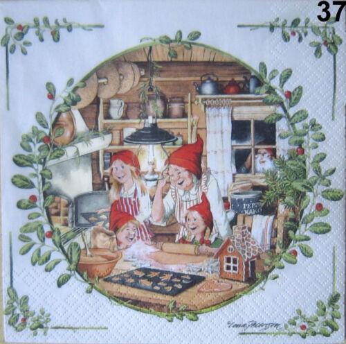 4 SERVIETTEN Weihnachten Wichtel Zwerge Nisser