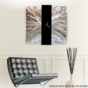 Large-Modern-Silver-Black-Metal-Wall-Art-Decor-Sculpture-Elegant-Mechanism-Clock