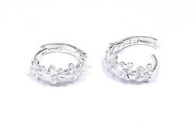 SILVER 925 HAWAIIAN 4 PLUMERIA HOOP EARRINGS CLEAR CZ