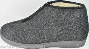 Opas-Hausschuhe-hoch-Stiefel-Herren-Pantoffel-Gr-40-45-Reissverschluss-Schurwolle