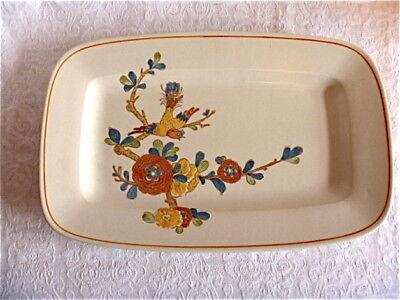 "Metlox OLD CATHAY platter Vernon Ware USA 14.75"" California floral bird VG++"
