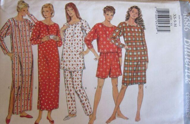 Vintage Butterick SEWING Pattern 4686 Misses Nightshirt PJs Pajamas XS-XL UNCUT